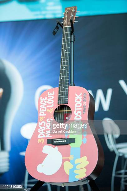 F Martin guitars introduced the Woodstock 50th Anniversary dreadnaught guitar during Media Day at Anaheim Convention Center on January 23 2019 in...