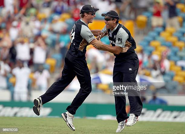 Martin Guptil and Ross Taylor of New Zealand celebrate catching Abdur Rehman of Pakistan to win the match during the ICC World Twenty20 Super Eight...