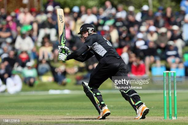 Martin Guptil Of New Zealand hits to the onside during game one of the International One Day Series between New Zealand and Zimbabwe at University...