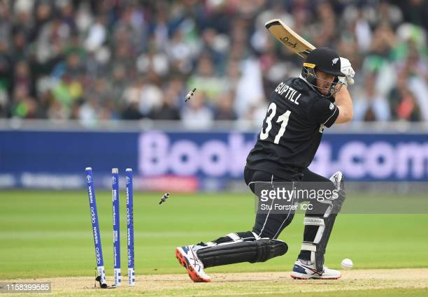 Martin Guptil of New Zealand is bowled by Mohammad Amir of Pakistan during the Group Stage match of the ICC Cricket World Cup 2019 between New...