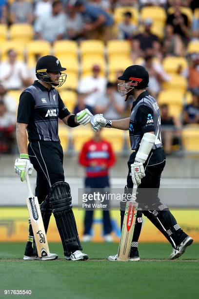 Martin Guptill and Kane Williamson of the Blackcaps during the International Twenty20 match between New Zealand and England at Westpac Stadium on...