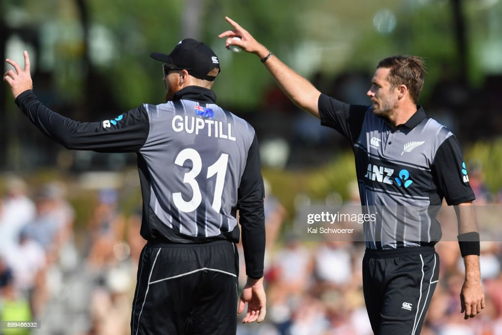 Martin Guptill and Tim Southee of New Zealand (L-R) react during game one of the Twenty20 series between New Zealand and the West Indies at Saxton Field on December 29, 2017 in Nelson, New Zealand.