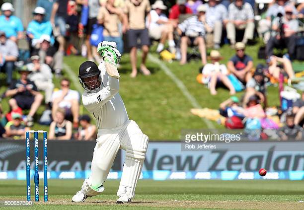 Martin Guptill of New Zealand bats during day one of the First Test match between New Zealand and Sri Lanka at University Oval on December 10, 2015...