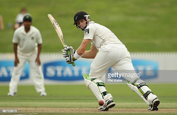 Martin Guptill of New Zealand bats during day one of the First Test match between New Zealand and Bangladesh at Seddon Park on February 15 2010 in...