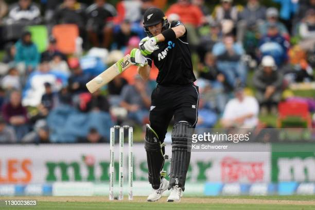 Martin Guptill of New Zealand bats during Game 2 of the One Day International series between New Zealand and Bangladesh at Hagley Oval on February 16...