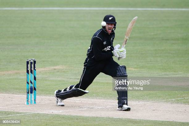 Martin Guptill of New Zealand bats during game four of the One Day International Series between New Zealand and Pakistan at Seddon Park on January 16...