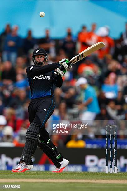 Martin Guptill of New Zealand bats during the 2015 ICC Cricket World Cup match between New Zealand and Sri Lanka at the Hagley Oval on February 14...