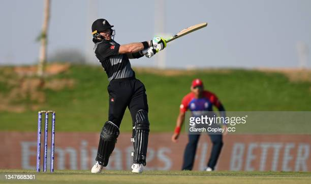 Martin Guptill of New Zealand bats during the England and New Zealand warm Up Match prior to the ICC Men's T20 World Cup at on October 20, 2021 in...