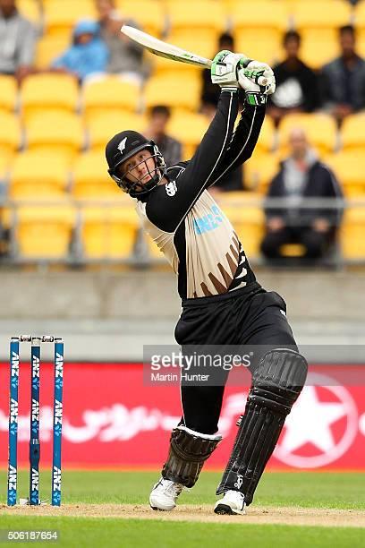 Martin Guptill of New Zealand bats during the Twenty20 International match between New Zealand and Pakistan at Westpac Stadium on January 22 2016 in...