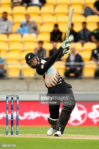 Martin Guptill of New Zealand bats during the Twenty20 International match between New Zealand and Pakistan at Westpac Stadium on January 22 2016 in...