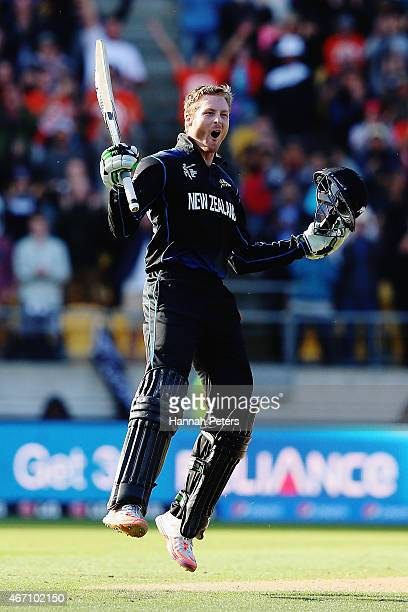 Martin Guptill of New Zealand celebrates after scoring 200 runs during the 2015 ICC Cricket World Cup match between New Zealand and the West Indies...