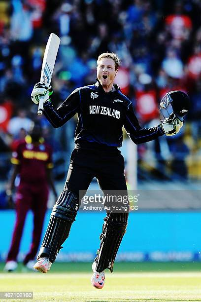 Martin Guptill of New Zealand celebrates after scoring a double century during the 2015 ICC Cricket World Cup match between New Zealand and the West...