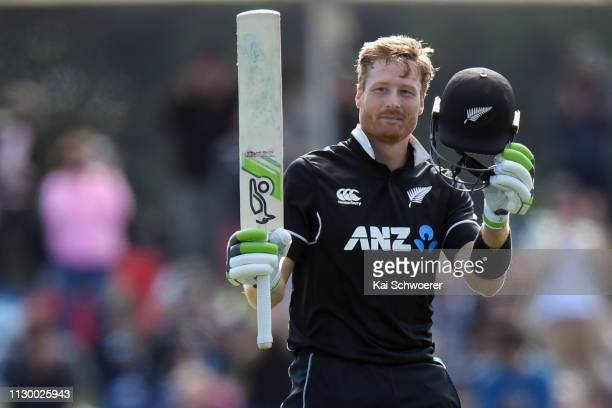 Martin Guptill of New Zealand celebrates his century during Game 2 of the One Day International series between New Zealand and Bangladesh at Hagley...
