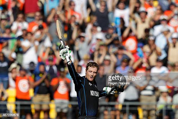 Martin Guptill of New Zealand celebrates his century during the 2015 ICC Cricket World Cup match between New Zealand and the West Indies at...