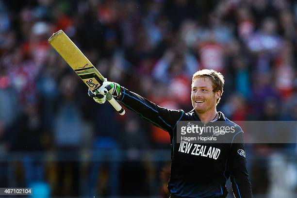 Martin Guptill of New Zealand celebrates his double century during the 2015 ICC Cricket World Cup match between New Zealand and the West Indies at...