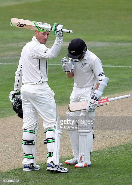 Martin Guptill of New Zealand celebrates scoring 100 runs during day one of the First Test match between New Zealand and Sri Lanka at University Oval...