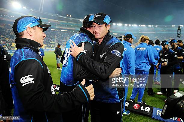 Martin Guptill of New Zealand celebrates the win with his teammates after the 2015 ICC Cricket World Cup match between New Zealand and the West...