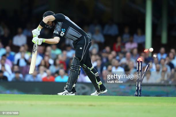 Martin Guptill of New Zealand is bowled by Billy Stanlake of Australia during game one of the International Twenty20 series between Australia and New...