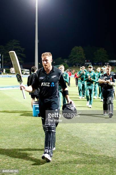 Martin Guptill of New Zealand leaves rhe field following game four of the One Day International series between New Zealand and South Africa at on...