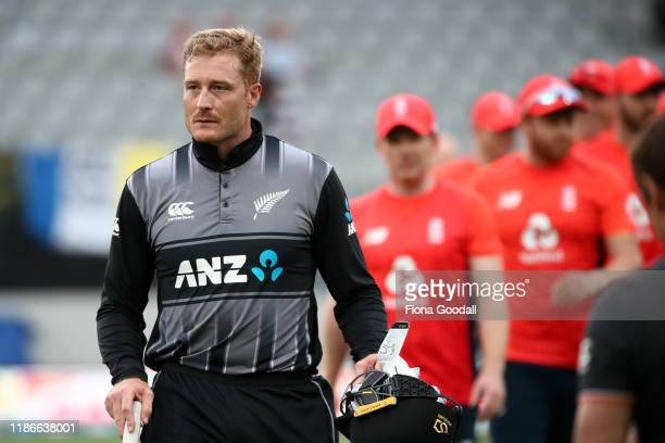 Martin Guptill of New Zealand leaves the field after the matchg during game five of the Twenty20 International series between New Zealand and England...