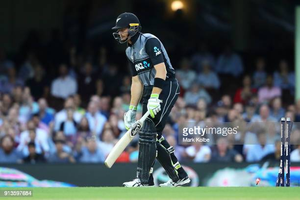 Martin Guptill of New Zealand looks dejected after being bowled by Billy Stanlake of Australia during game one of the International Twenty20 series...