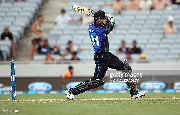 Martin Guptill of New Zealand plays a shot during the third oneday international cricket match between New Zealand and Pakistan at Eden Park in...
