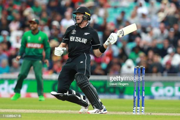 Martin Guptill of New Zealand pulls the ball one handed during the Group Stage match of the ICC Cricket World Cup 2019 between Bangladesh and New...