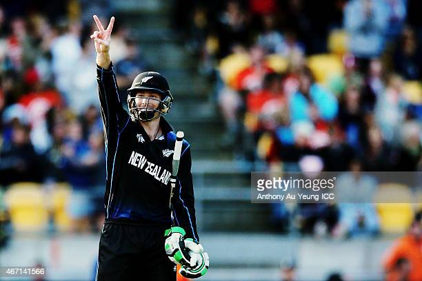 Martin Guptill of New Zealand puts a hand signal to his team during the 2015 ICC Cricket World Cup match between New Zealand and the West Indies at...