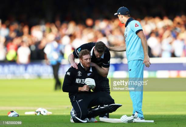 Martin Guptill of New Zealand reacts as he is run out on the final ball of the Super Over by Jos Buttler of England during the Final of the ICC...