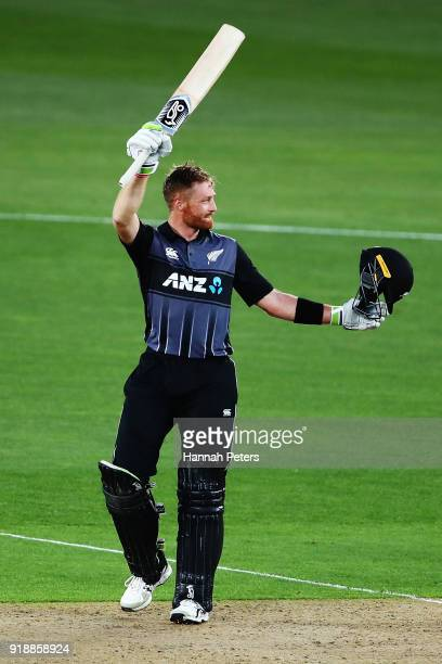 Martin Guptill of the Black Caps celebrates after scoring a century during the International Twenty20 match between New Zealand and Australia at Eden...