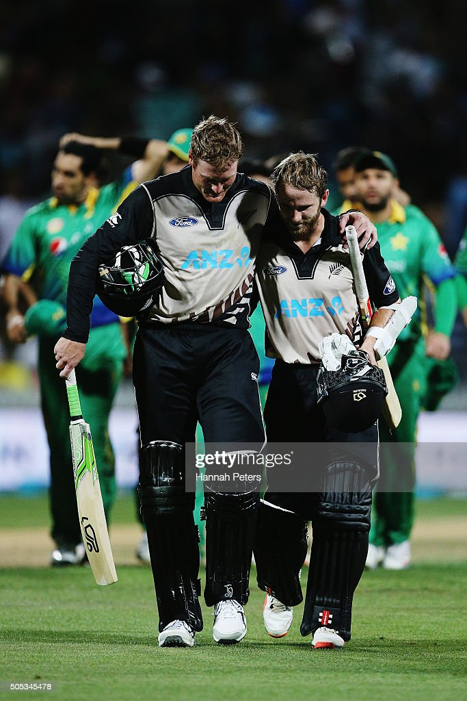 Martin Guptill of the Black Caps celebrates with Kane Williamson of the Black Caps after winning the International Twenty20 match between New Zealand and Pakistan at Seddon Park on January 17, 2016 in Hamilton, New Zealand.