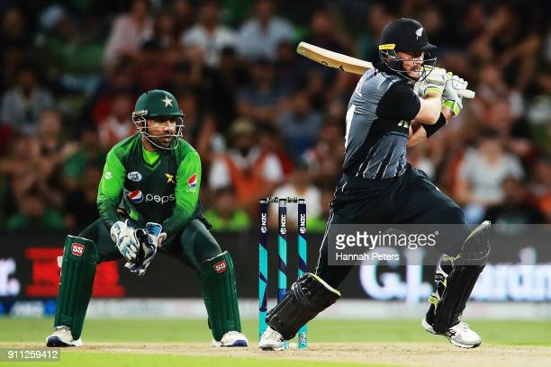 Martin Guptill of the Black Caps pulls the ball away during game three of the International Twenty20 match between New Zealand and Pakistan at Bay...