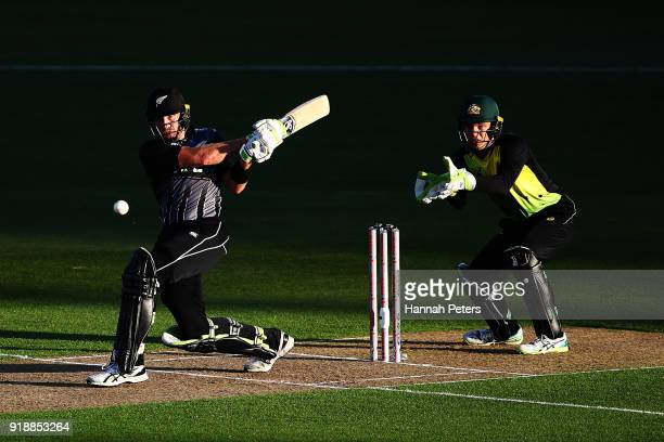 Martin Guptill of the Black Caps works the ball away for four runs during the International Twenty20 match between New Zealand and Australia at Eden...