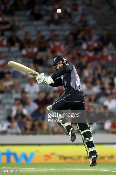 Martin Guptill of the Blackcaps bats during the International Twenty20 match between New Zealand and Pakistan at Eden Park on January 25 2018 in...