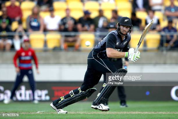 Martin Guptill of the Blackcaps bats during the International Twenty20 match between New Zealand and England at Westpac Stadium on February 13 2018...