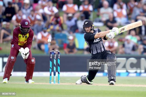 Martin Guptill of the New Zealand Black Caps bats during game three of the Twenty20 series between New Zealand and the West Indies at Bay Oval on...