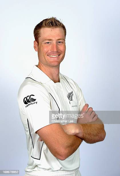 Martin Guptill poses for the camera during the New Zealand Cricket Headshots at Lords on May 13 2013 in London England