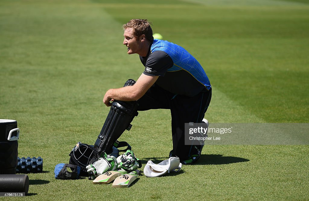 Martin Guptill puts his pads on during the New Zealand Nets Session at The Kia Oval on June 11, 2015 in London, England.