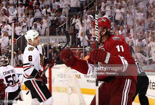 Martin Hanzal of the Phoenix Coyotes celebrates after scoring the game winning goal in overtime of Game One of the Western Conference Quarterfinals...