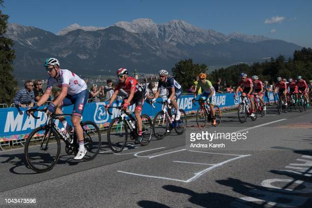 Martin Haring of Slovakia and Lukas Postlberger of Austria lead the second group containing the team of Austria at the first lap during the Men Elite...