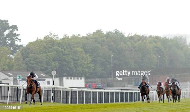 Martin Harley riding Burning Cash Ed wins The diamondracing.co.uk Maiden Stakes at Chepstow Racecourse on July 09, 2020 in Chepstow, England.