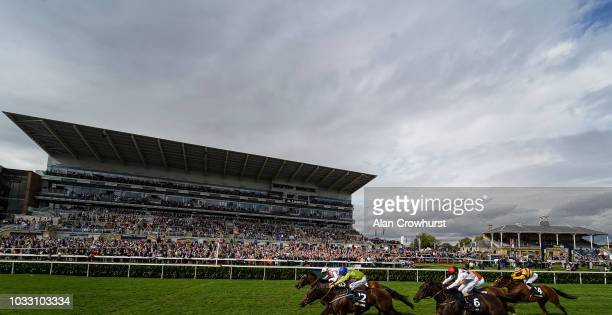 Martin Harley riding Just In Time win The William Hill Mallard Handicap at Doncaster Racecourse on September 14 2018 in Doncaster United Kingdom