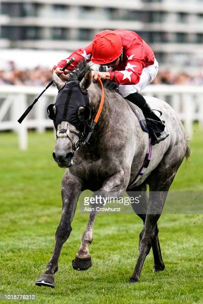 Martin Harley riding Red Force One win The Wellchild Handicap Stakes at Newbury Racecourse on August 18 2018 in Newbury United Kingdom