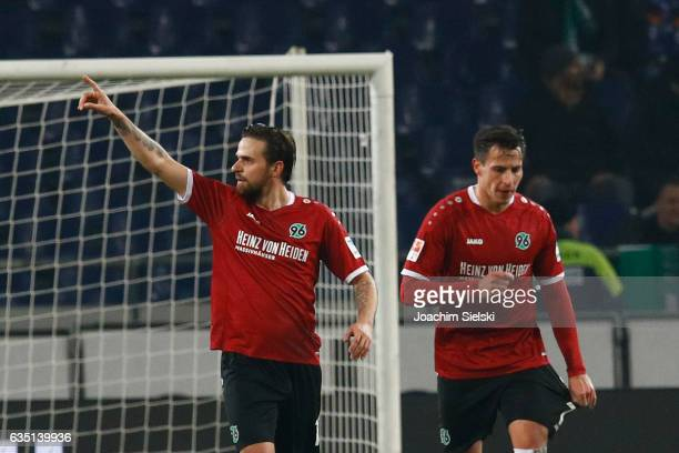 Martin Harnik and Edgar Prib of Hannover celebration the Goal 11 during the Second Bundesliga match between Hannover 96 and VfL Bochum 1848 at...