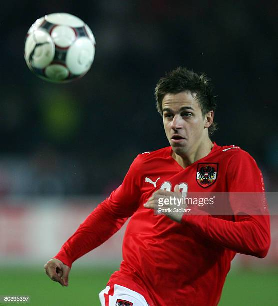 Martin Harnik of Austria airs the ball during the international friendly match between Austria and Netherlands at the Ernst Happel stadium on March...