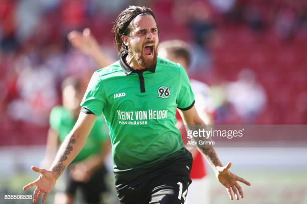 Martin Harnik of Hannover celebrates his team's first goal during the Bundesliga match between 1 FSV Mainz 05 and Hannover 96 at Opel Arena on August...