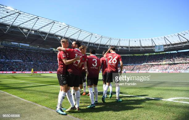 Martin Harnik of Hannover celebrates scoring the first goal during the Bundesliga match between Hannover 96 and Hertha BSC at HDIArena on May 5 2018...