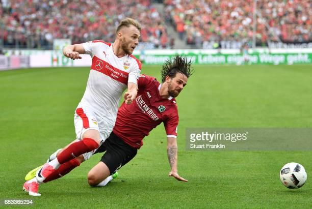 Martin Harnik of Hannover challenges Alexandru Iulian Maxim of Stuttgart during the Second Bundesliga match between Hannover 96 and VfB Stuttgart at...
