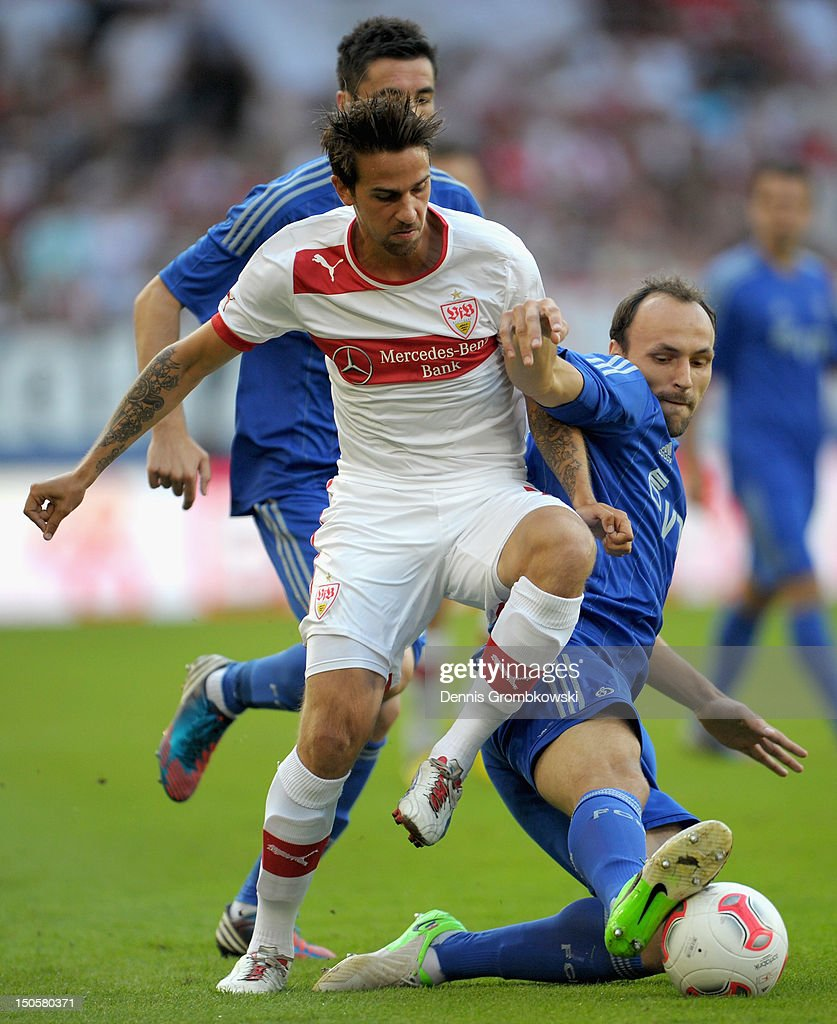 Martin Harnik of Stuttgart and Gordon Schildenfeld of Moscow battle for the ball during the UEFA Europa League Qualifying Play-Off match between VfB Stuttgart and FC Dynamo Moscow at Mercedes-Benz Arena on August 22, 2012 in Stuttgart, Germany.