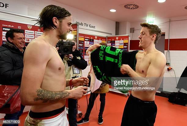 Martin Harnik of Stuttgart and Max Kruse of Moenchengladbach change jerseys after the Bundesliga match between VfB Stuttgart and Borussia...